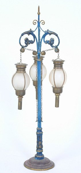 1016: Early Painted Tin Lamp Post