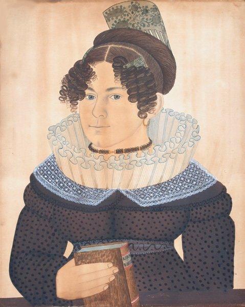 2220: Pr. Folk Art  W/C Portraits