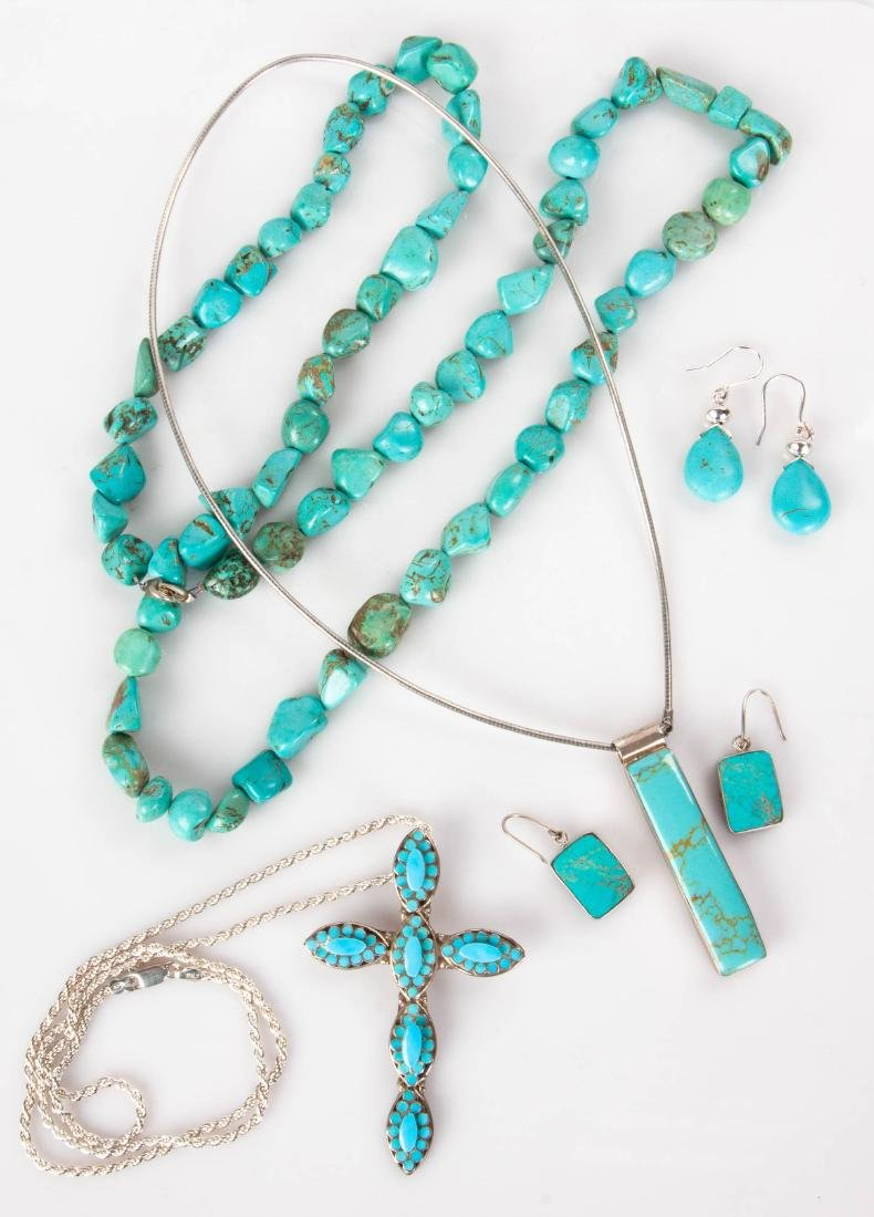 Group of Navajo and Mexican Turquoise & Silver Jewelry