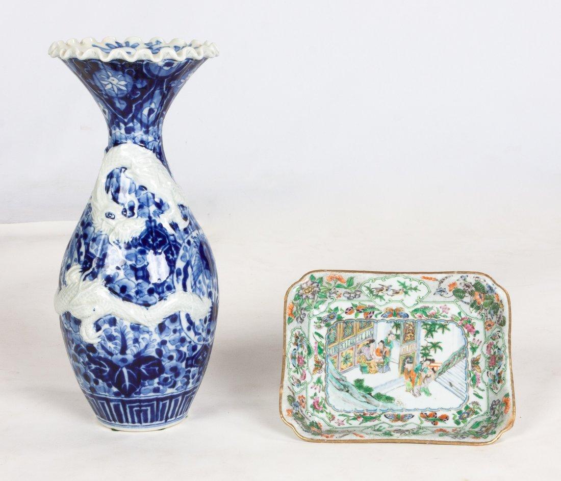 Japanese Porcelain Vase & Chinese Porcelain Plate