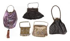 Group of Five Silk and Beaded Handbags
