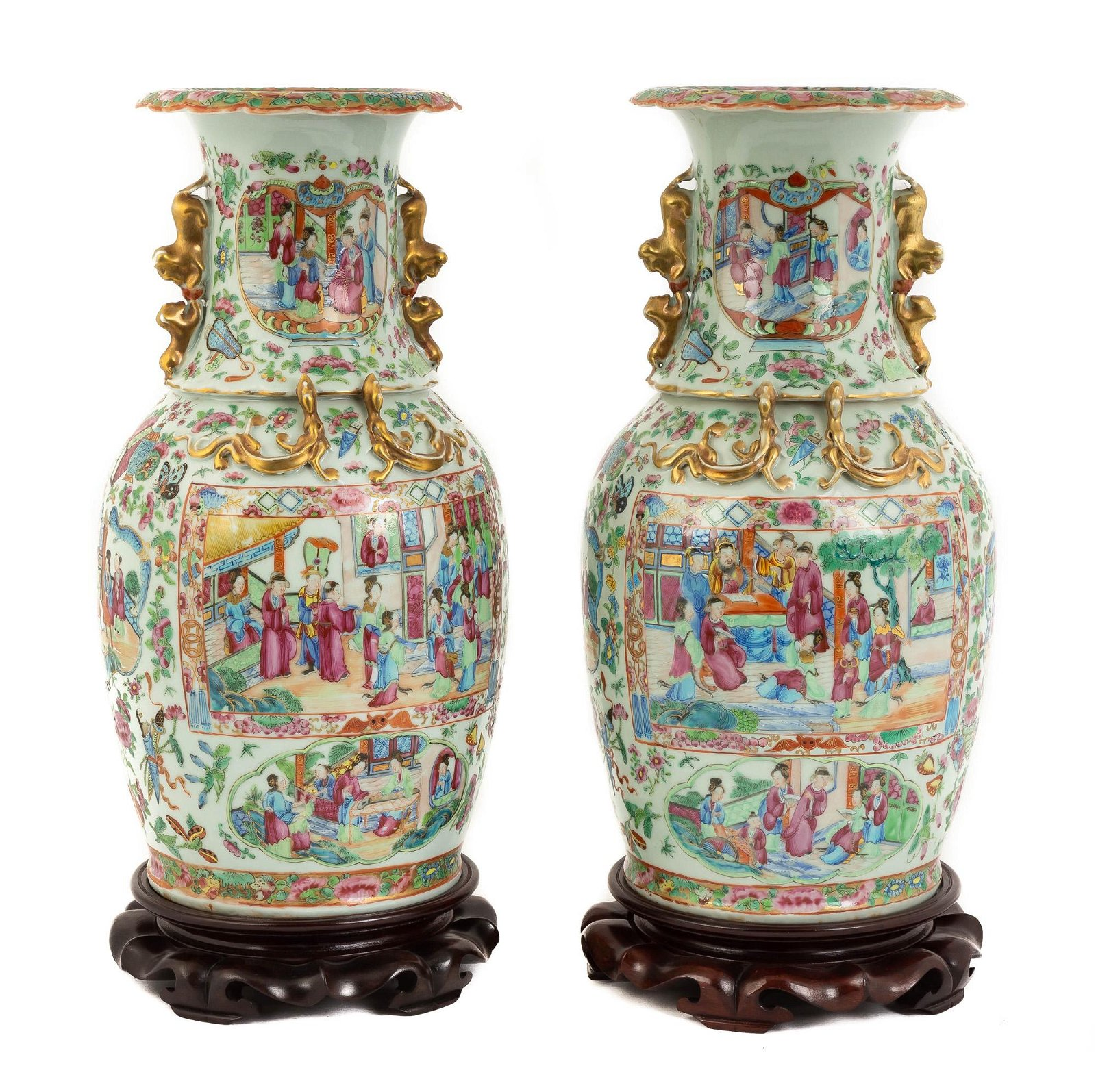 Pair of Chinese Export Famille Rose Vases With  Stands