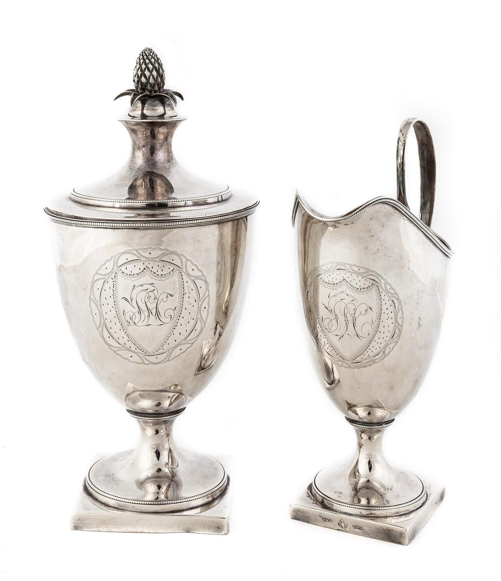 Early American Silver Covered Sugar & Creamer