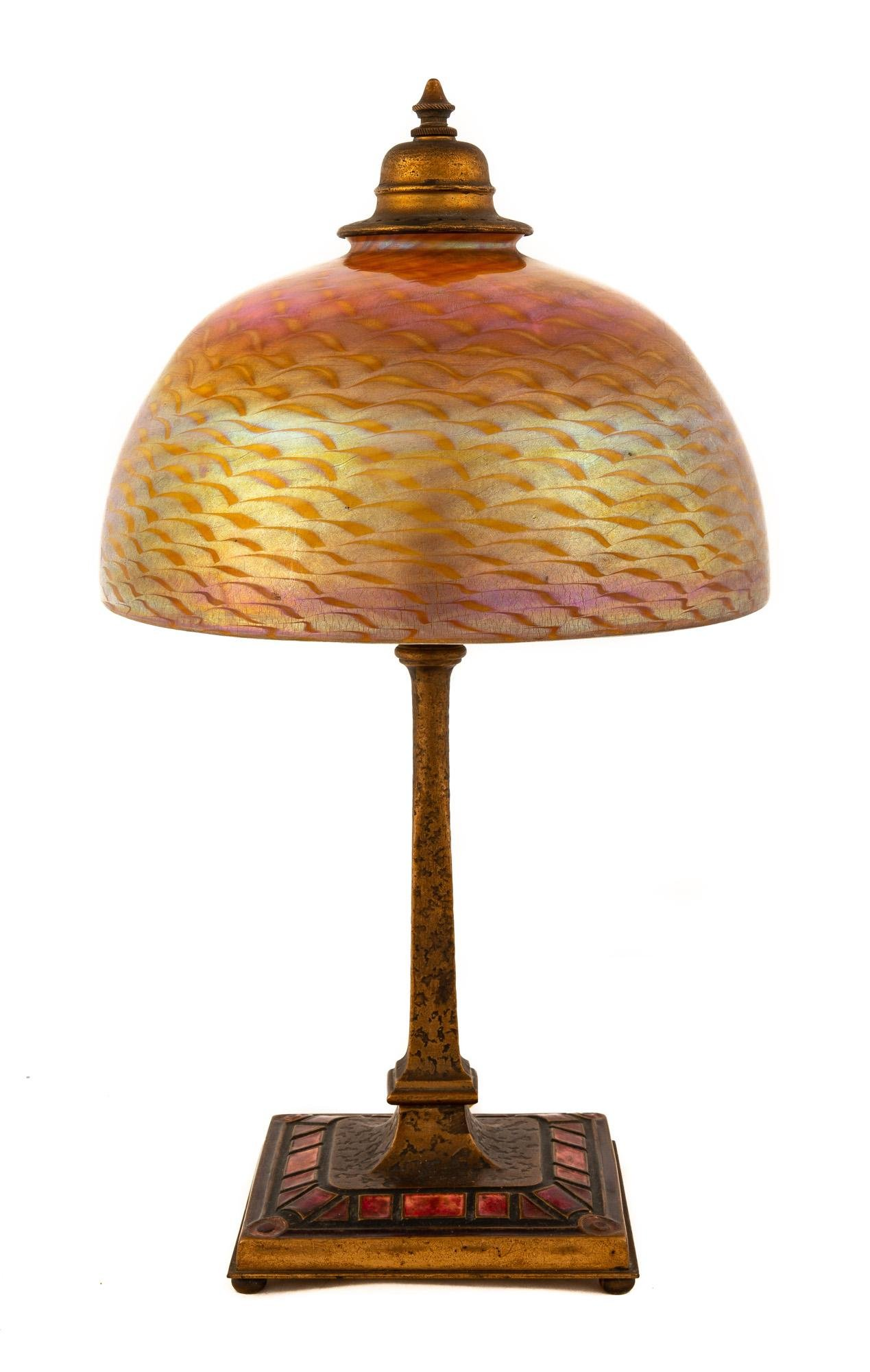 Tiffany Studios Bronze and Enameled Art Deco Desk Lamp