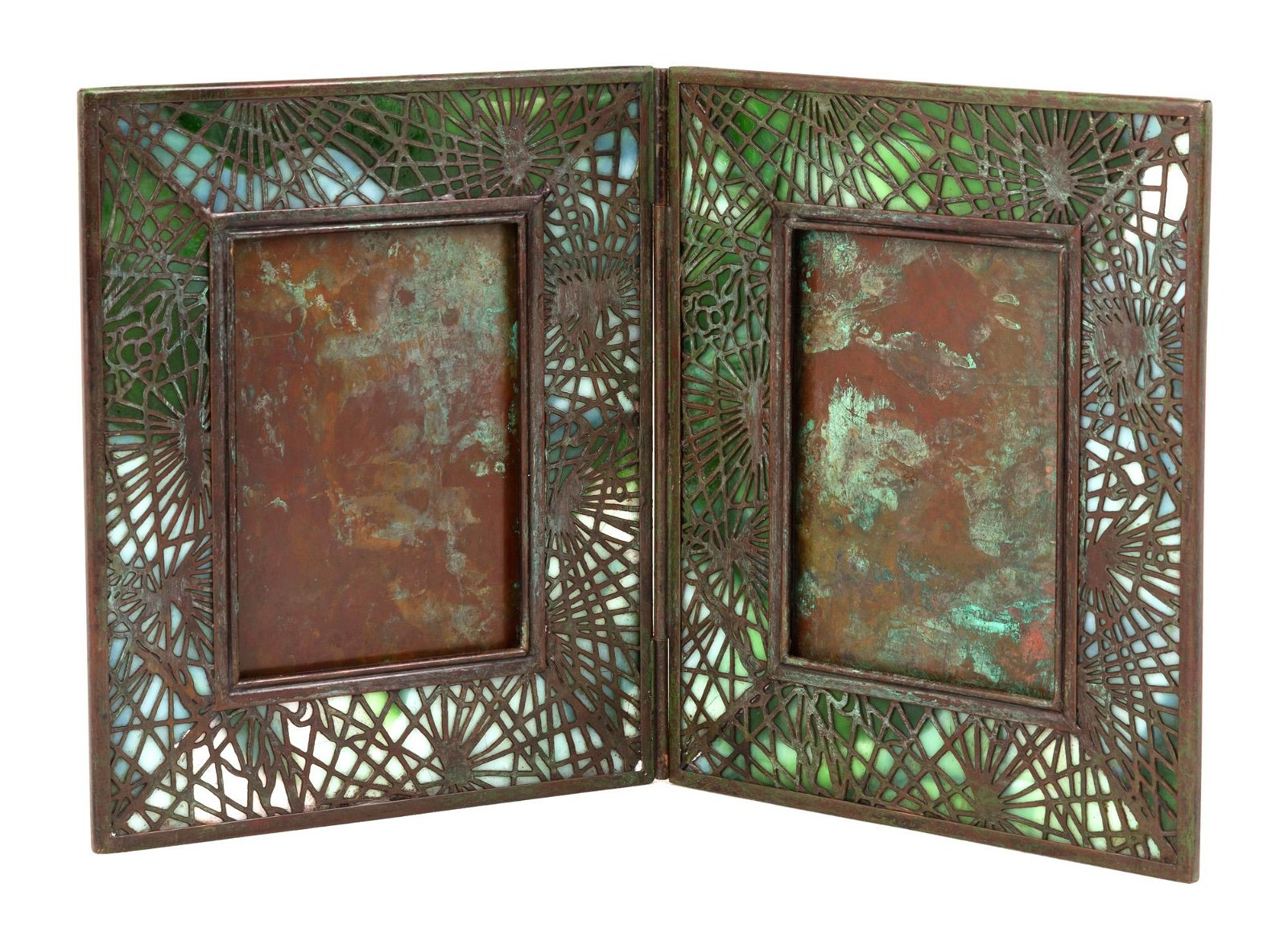 Tiffany Studios, NY Pine Needle Double Picture  Frame