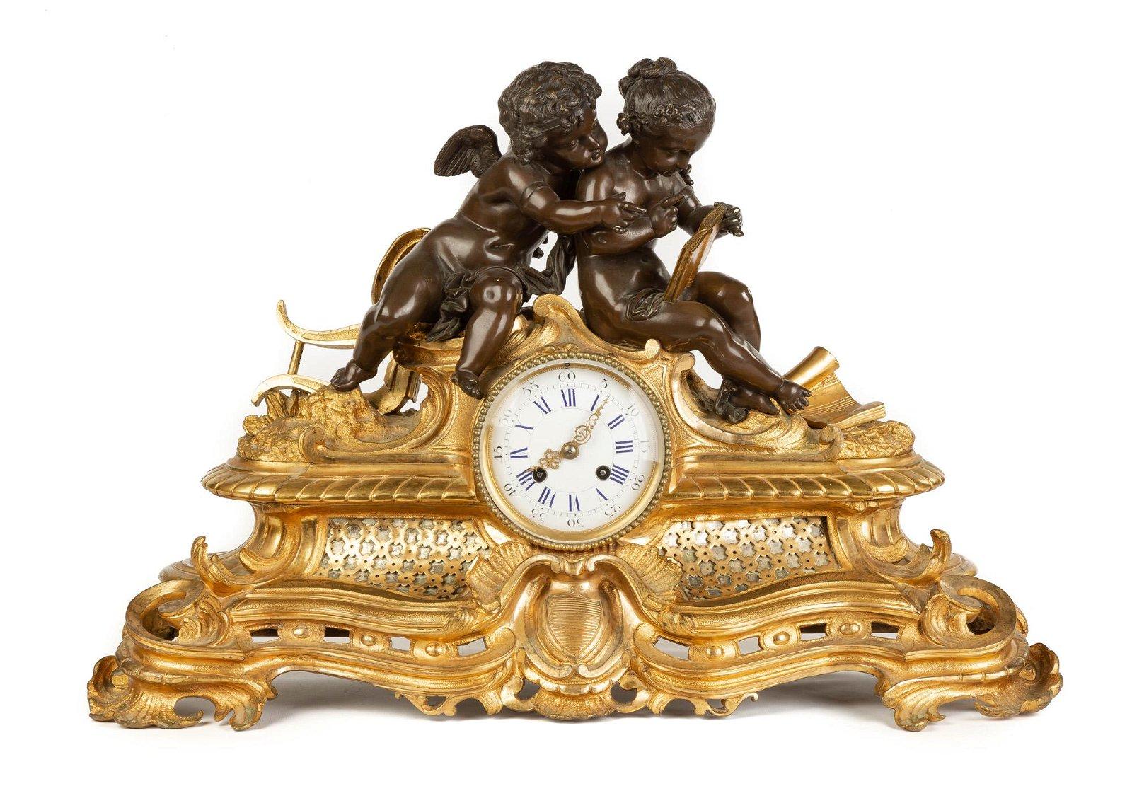 French Gilt Bronze Cherub Clock