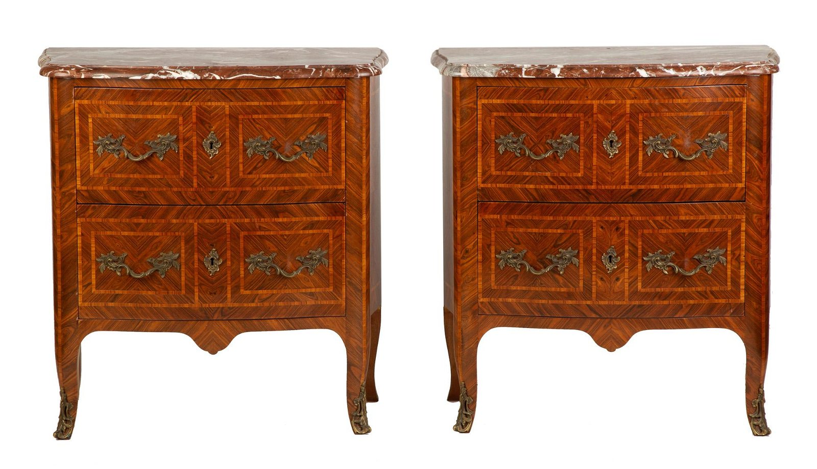 Pair of Marquetry 2-Drawer Serpentine Commodes