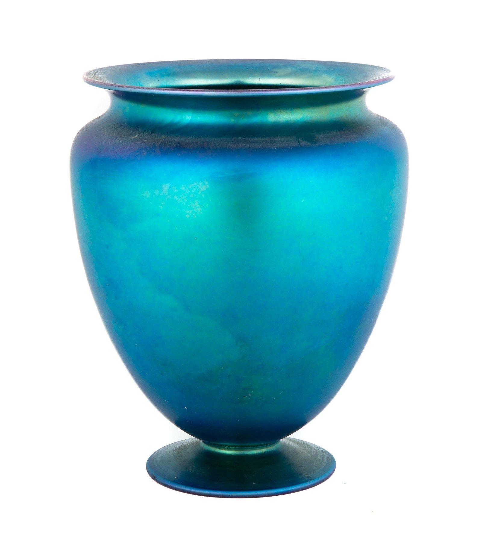 Large Steuben Blue Aurene Vase