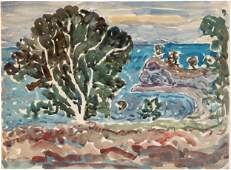 Maurice Prendergast (1858-1924) Landscape w/ Large Tree