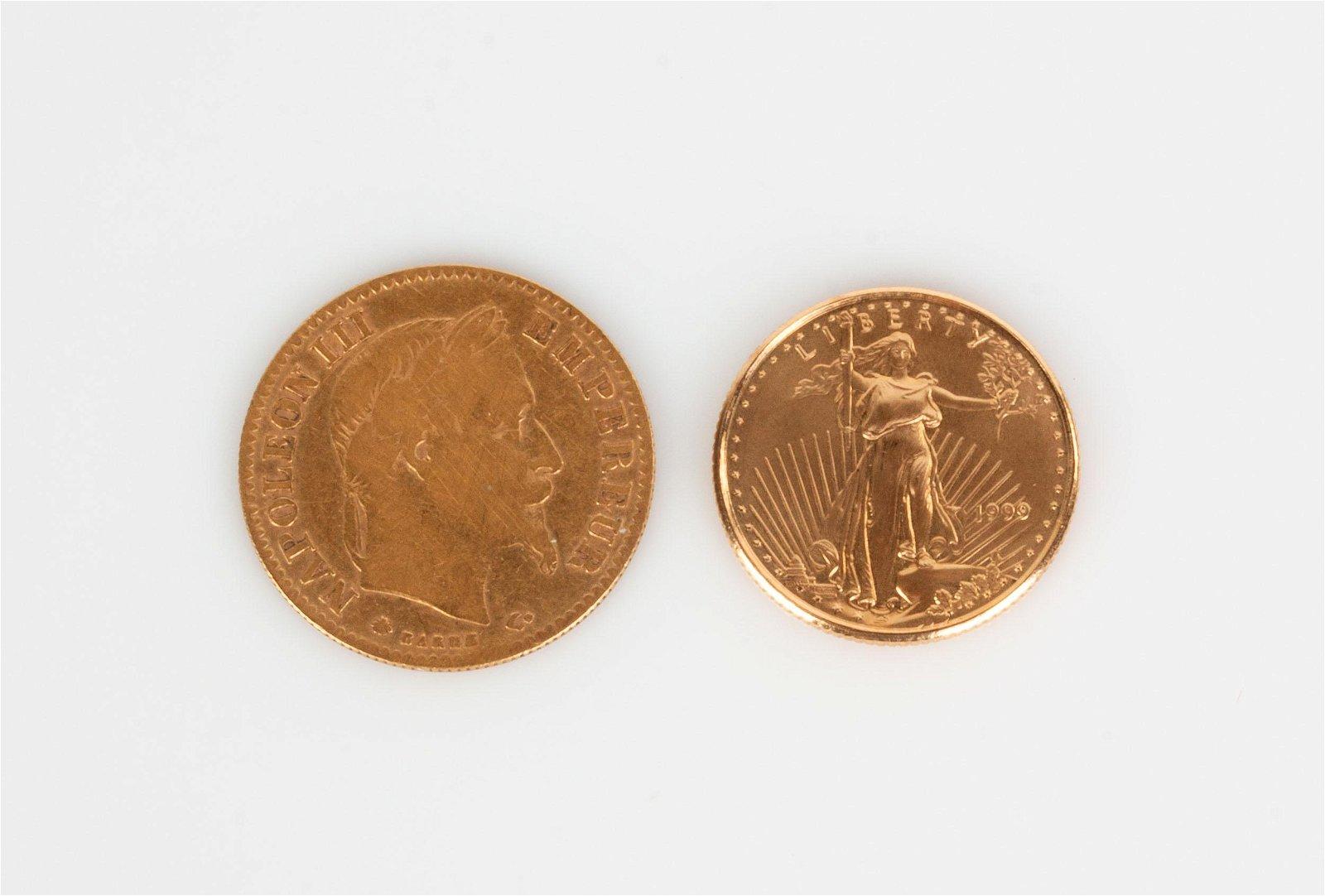 1866 Napoleon III 10 Francs & 1999 American 5 Dollar