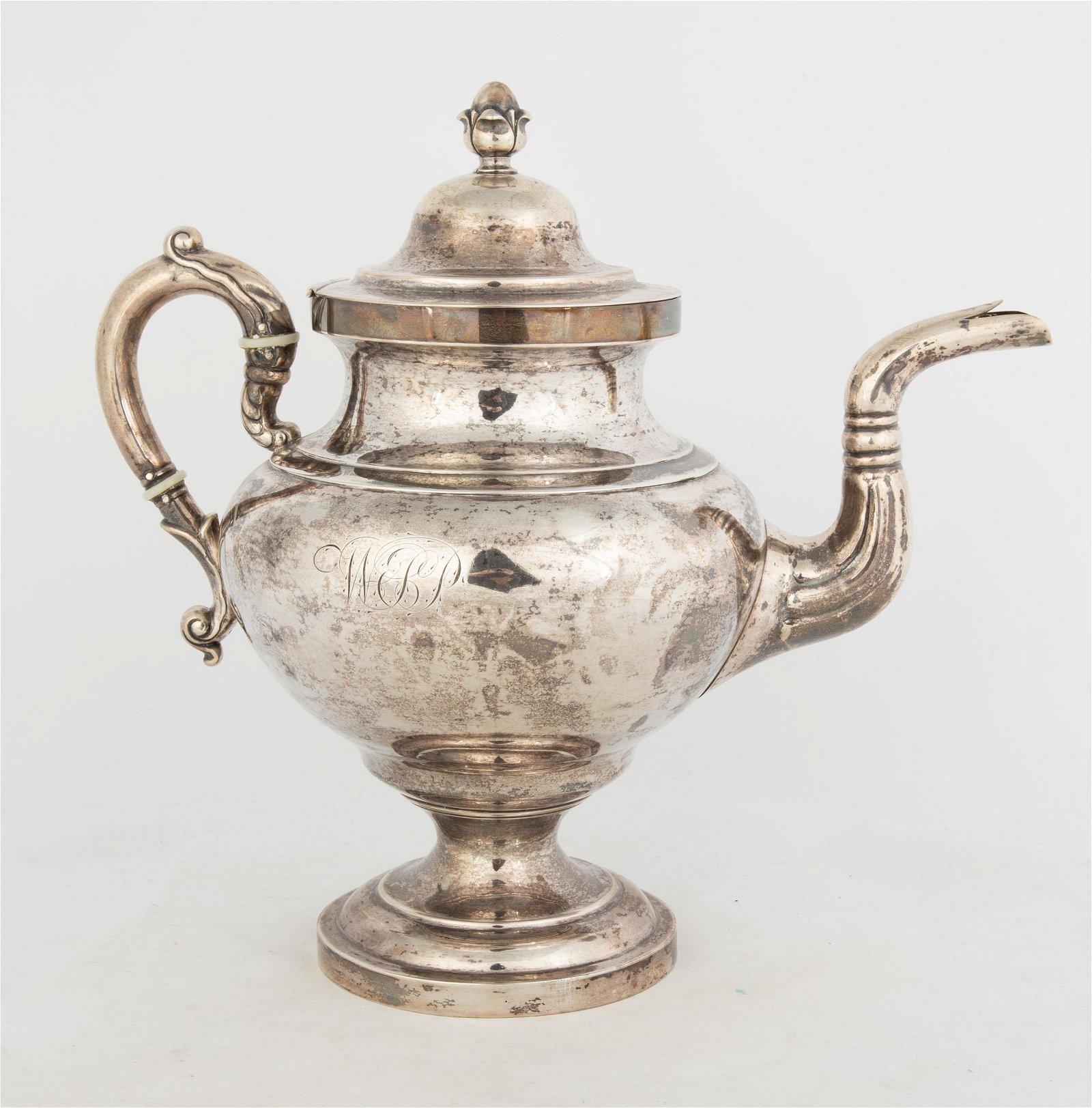 N.J. Bogert, New York, Coin Silver Coffee Pot