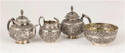 Siam Export Sterling Silver Repouss  Tea Set