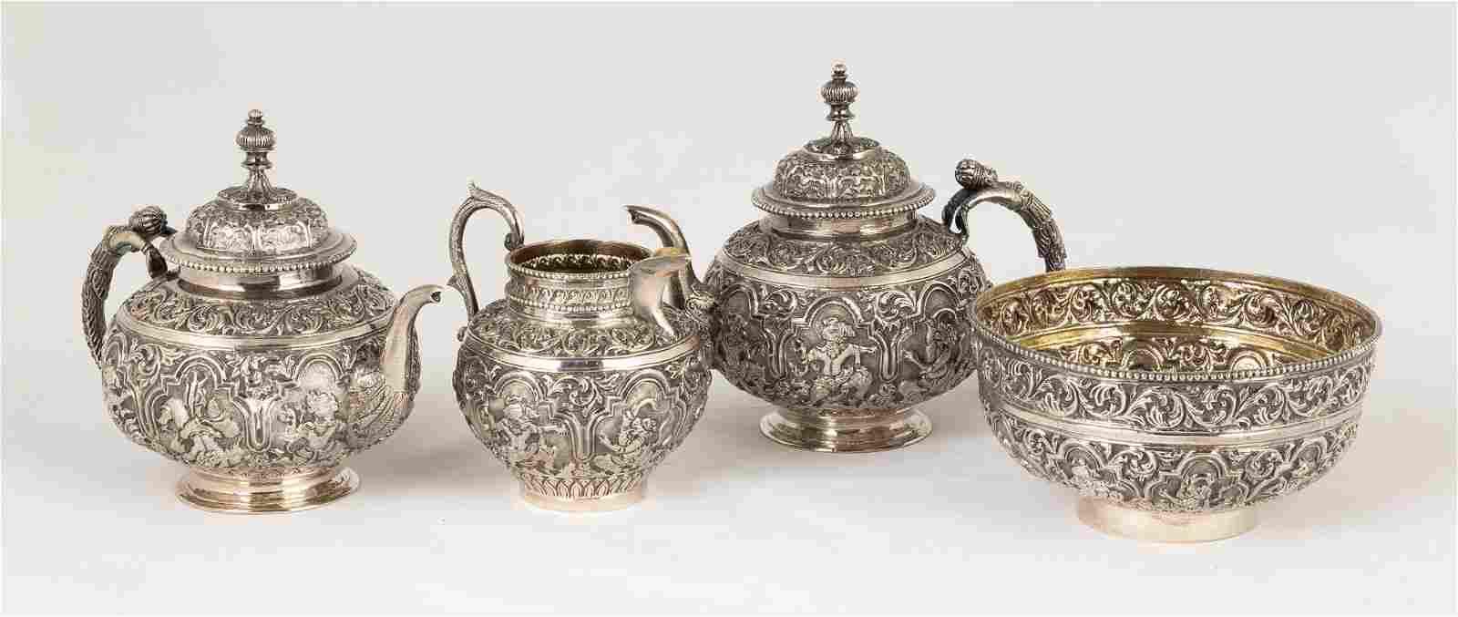 Siam Export Sterling Silver Repoussé  Tea Set