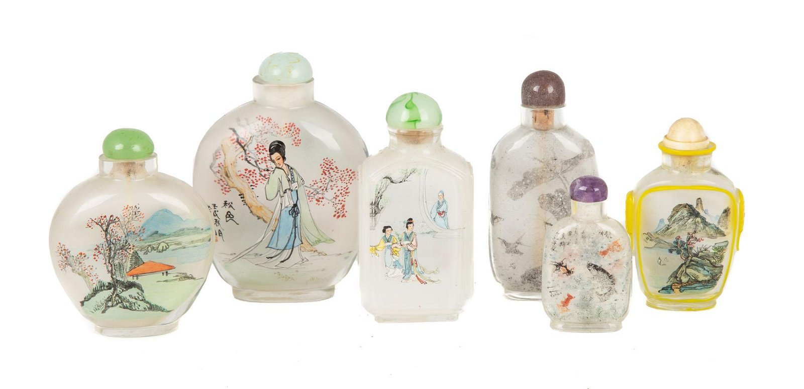 Group of Six Chinese Inside Painted Snuff Bottles