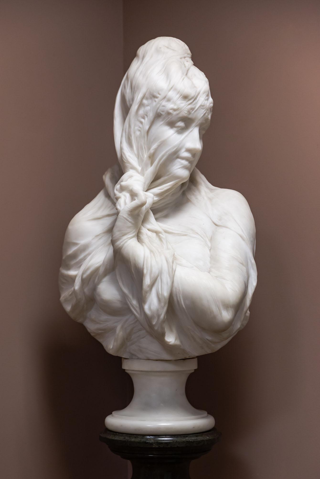 Gaetano Russo (Italian, 19th Century), Marble  Veiled