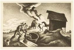 "Thomas Hart Benton (1889-1975) ""Fire in the Barnyard"""