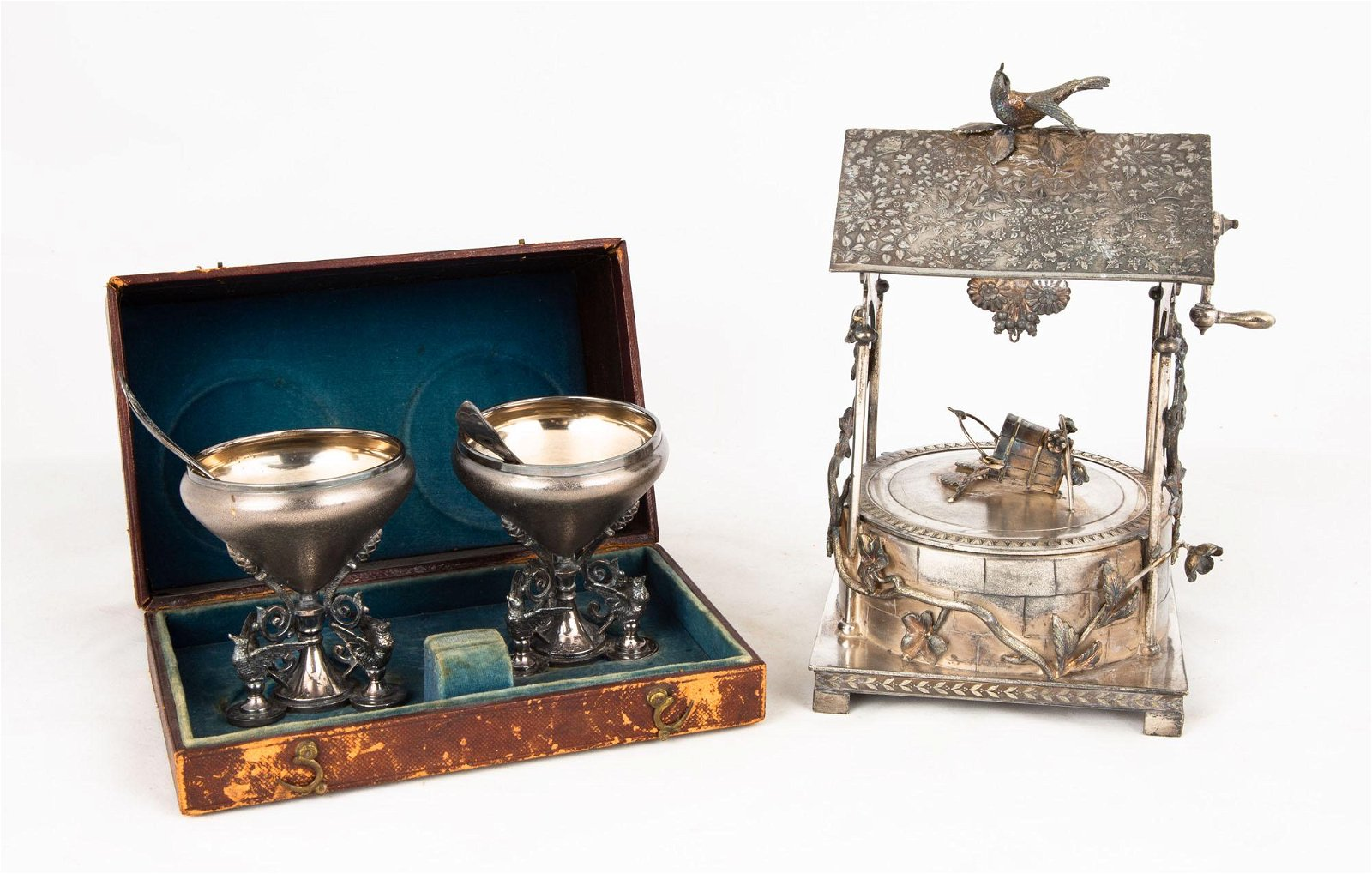 Two Silver Plate Condiment Pieces & Wishing Well