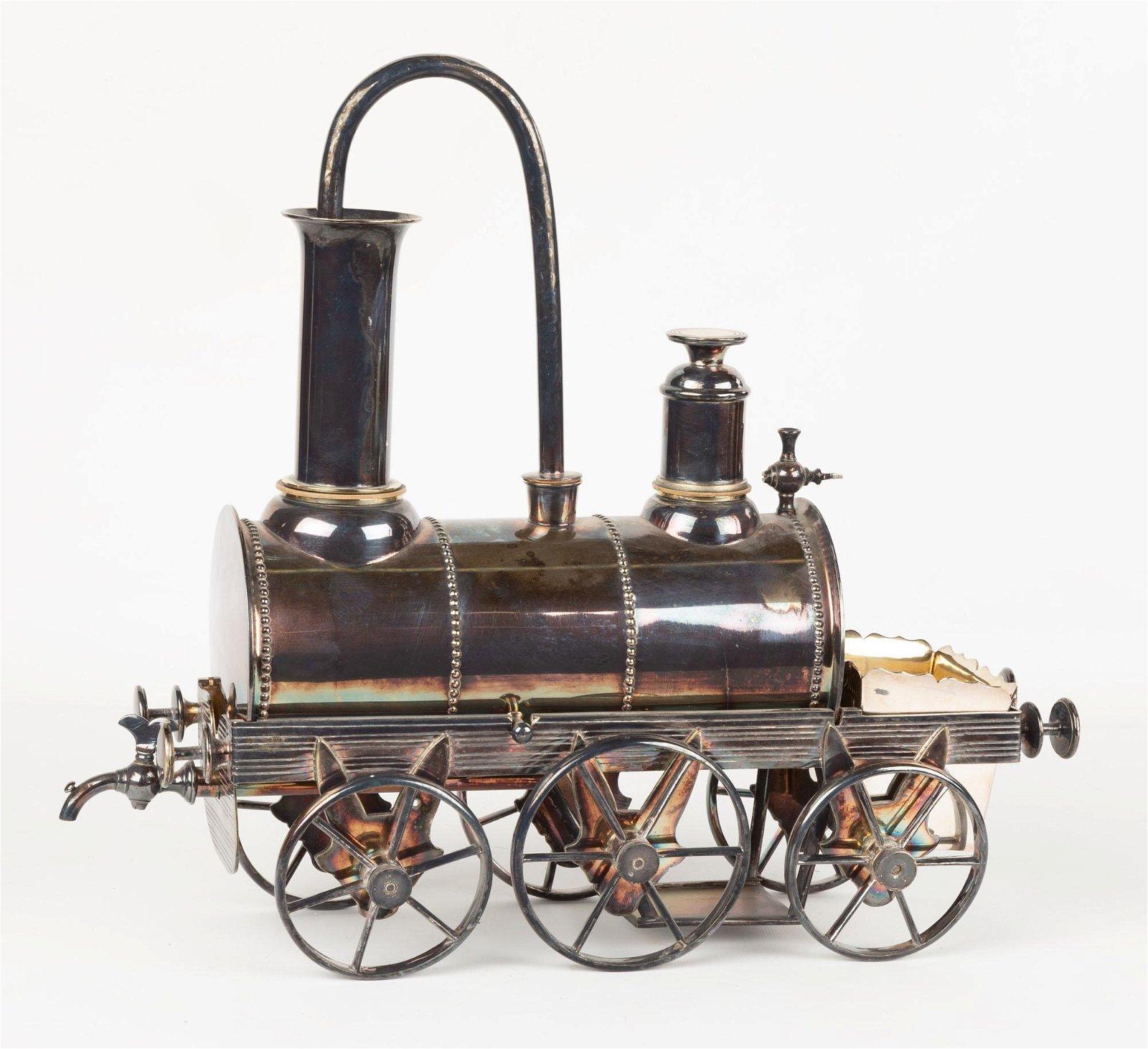 Unusual Silver Plate Tea Urn in Form of Locomotive