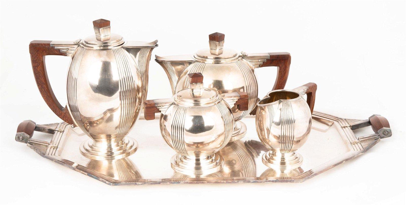 French Art Deco 5 Piece Silver Plate Tea Set