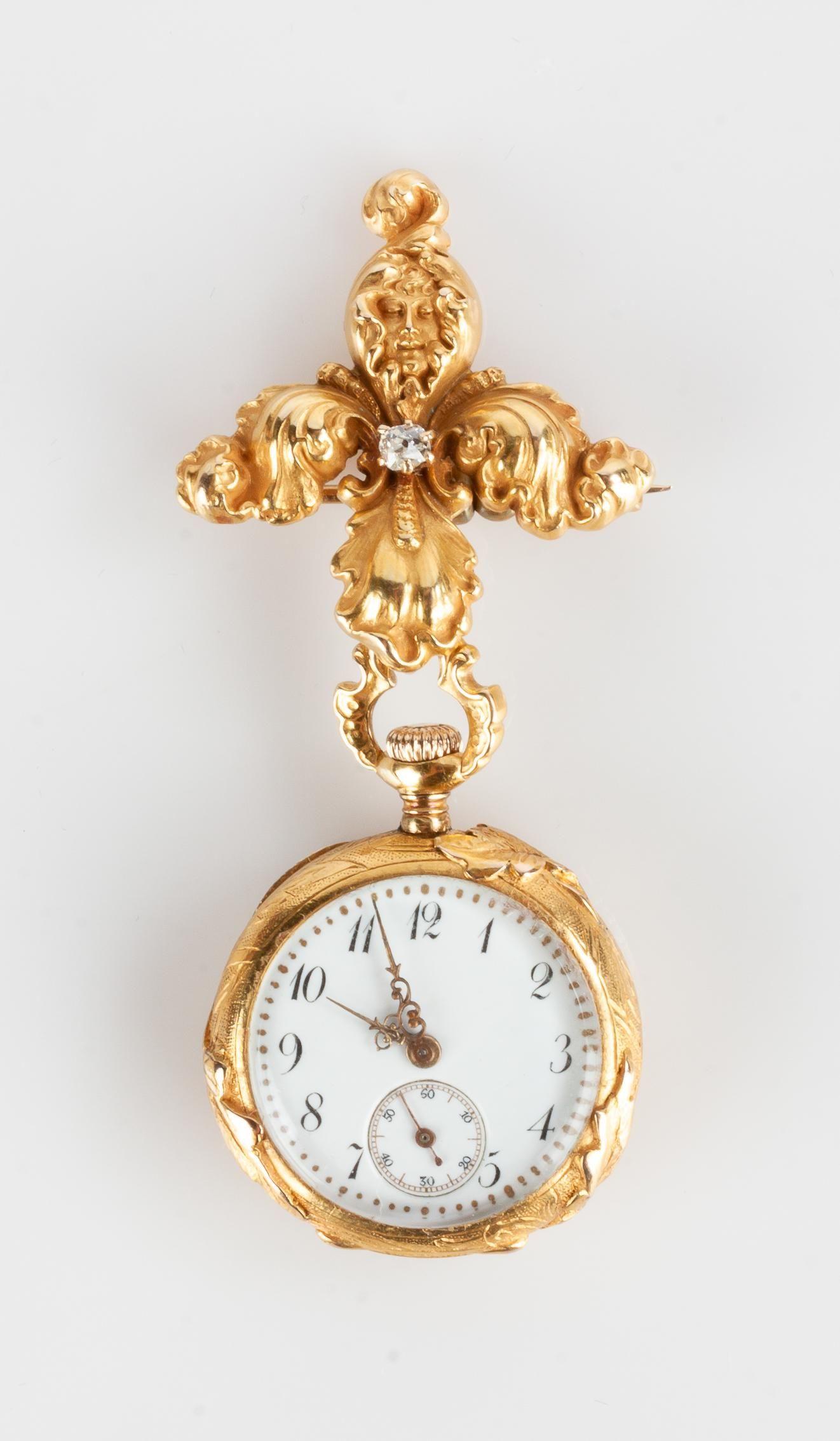 14k Gold and Diamond Pendant Watch Brooch