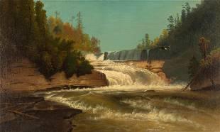 Hermann Herzog (1832 - 1932) Waterfall with Eagle