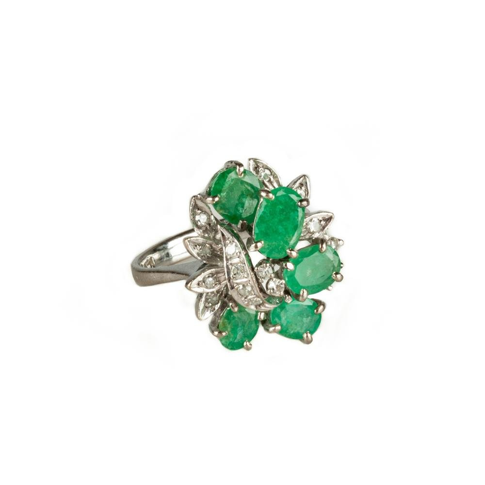 14K White Gold, Natural Emerald and Diamond Ring