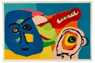 """Karel Appel (Dutch, 1921 - 2006) """"Blue Mask"""""""