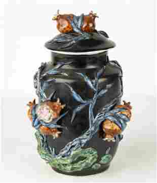 Chinese Famille Noire Porcelain Covered Jar