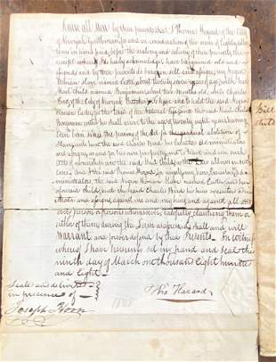 Bill of Sale of a Lady Slave and Her Young Boy