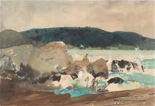 "Roy Mason (American, 1886-1972) ""Fishing on the Rocks"""
