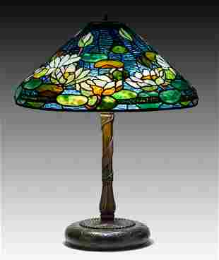 Rare Tiffany Studios, New York Pond Lily Table Lamp