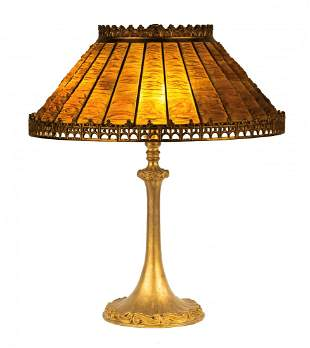 Unusual Tiffany Studios, New York Linen Fold Table Lamp