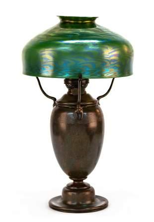 Large Tiffany Studios, New York Damascene Table Lamp