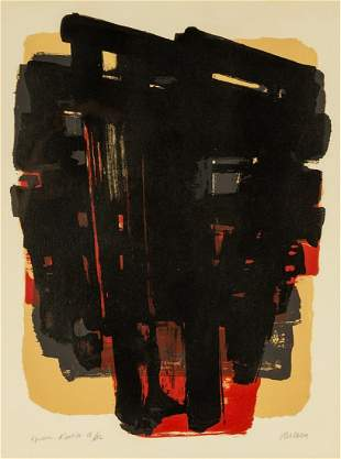 """Pierre Soulages (French, b. 1919) """"Brown and Black"""