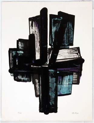"""Pierre Soulages (French, b. 1919) """"No. 4"""""""