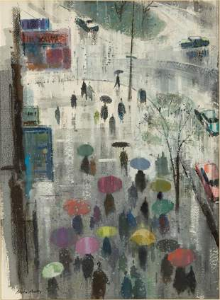 Ralph Avery (American, 1906-1976) Rainy Street Scene