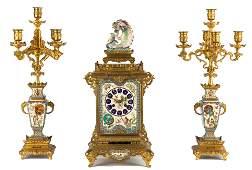 Fine & Rare 3-Piece Garniture Gilt Bronze Japonisme