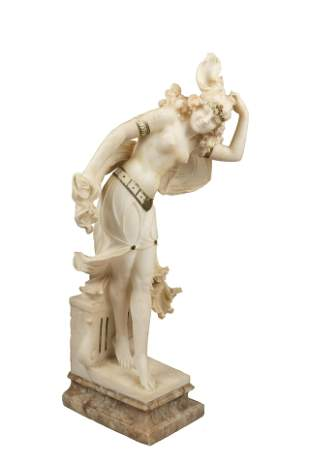 19th Century Italian Carved Alabaster Sculpture of a