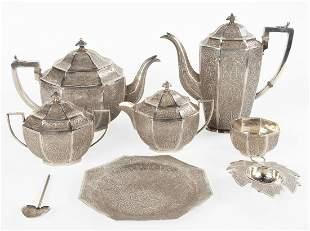 8 Piece Indian Kashmir Silver Tea Set
