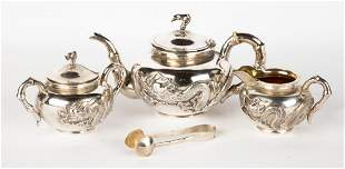 Chinese Export Silver 4-Piece Zee-Wo Tea Set
