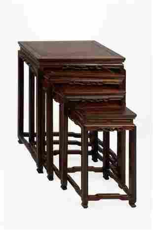 (4) Chinese Teak & Burl Nesting Tables