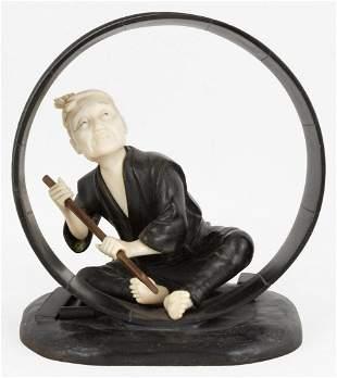 Japanese Bronze Figure of Barrel Maker