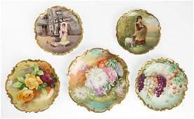 (5) Limoges Hand Painted Porcelain Plates