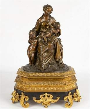 19th Century French Bronze Figural Group of Mother and