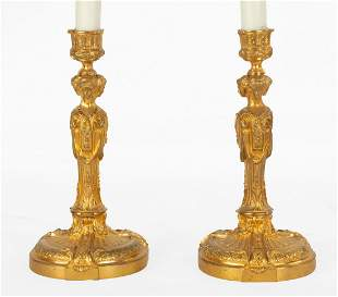 French Ormolu Candlestick Lamps