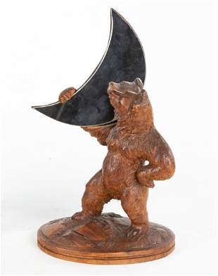 Black Forest Carved Wooden Bear with Crescent Mirror