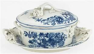 Worcester Miniature Blue & White Porcelain Tureen