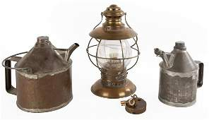 Railroad Lantern, Oil Cans and Lock