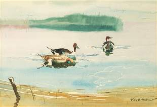 Roy Mason (American, 1886-1972) Geese in a Pond