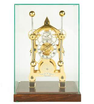 English, Sinclair Harding Grasshopper Skeleton Clock